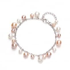 Sterling Silver & Pink Freshwater Pearl Dangling Bracelet