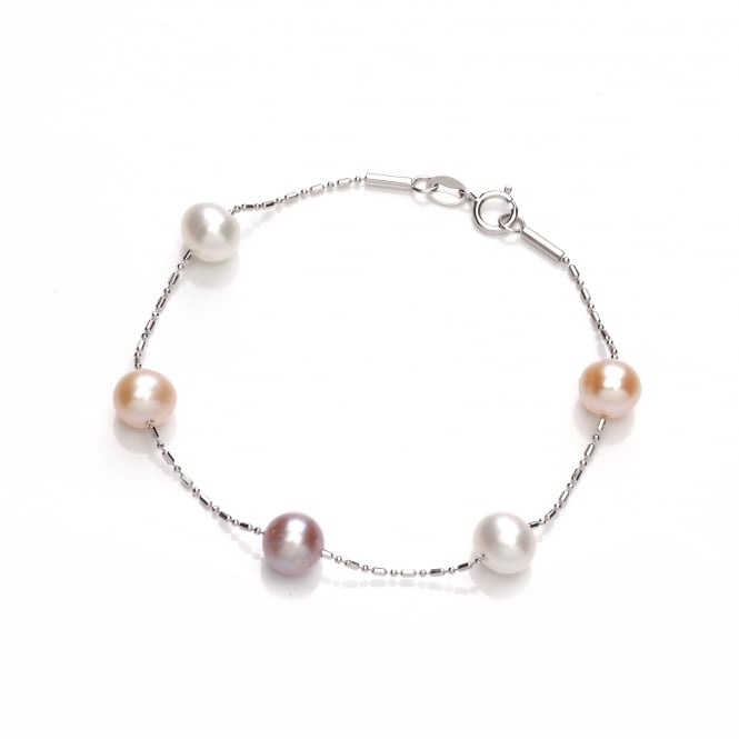 David Deyong Sterling Silver Pink & Peach Scattered Pearl Bracelet