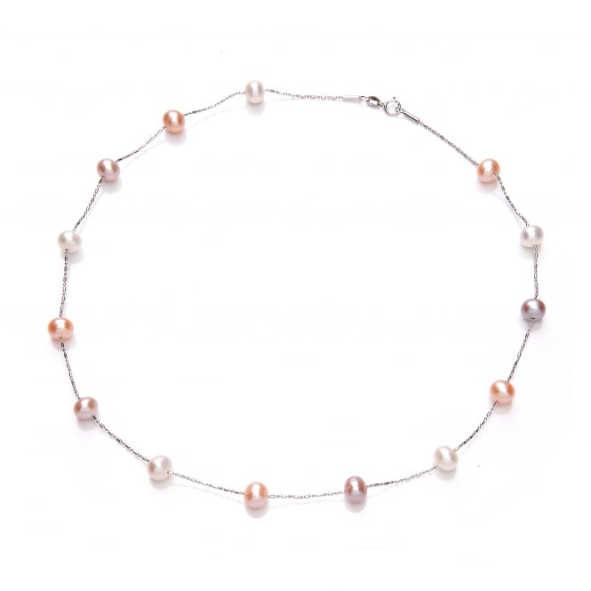 David Deyong Sterling Silver Pink & Peach Scattered Pearl Necklace