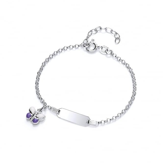 David Deyong Sterling Silver Purple Butterfly Children's Enamel ID Bracelet