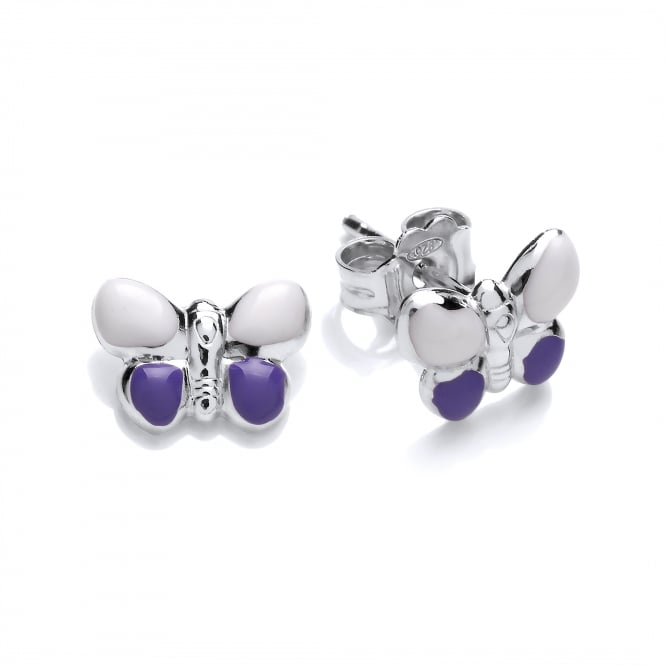 David Deyong Sterling Silver Purple Butterfly Enamel Children's Stud Earrings
