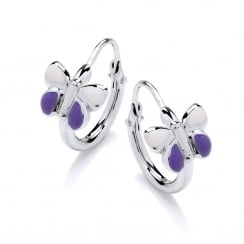 Sterling Silver Purple Enamel Butterfly Children's Hoop Earrings
