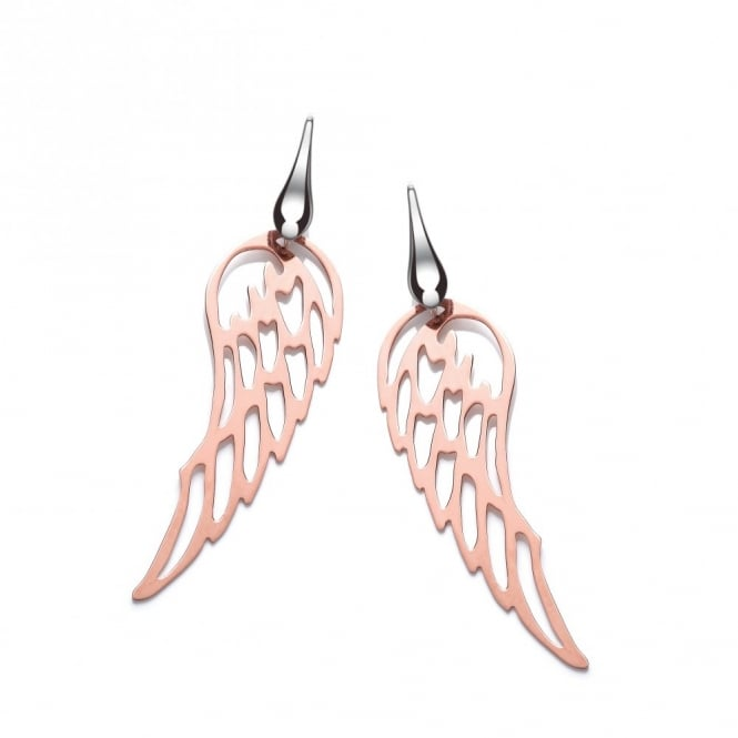 David Deyong Sterling Silver & Rose Gold Plated Angel Wings Drop Earrings