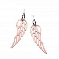 Sterling Silver & Rose Gold Plated Angel Wings Drop Earrings