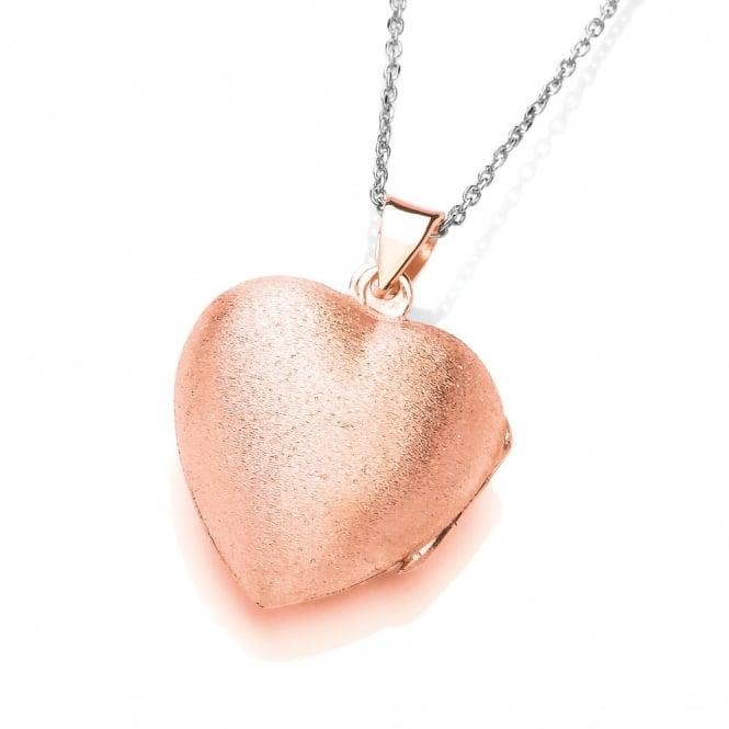David Deyong Sterling Silver & Rose Gold Plated Brushed Heart Locket
