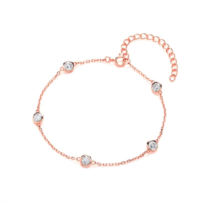 David Deyong Sterling Silver & Rose Gold Plated Chain and Cubic Zirconia Bracelet