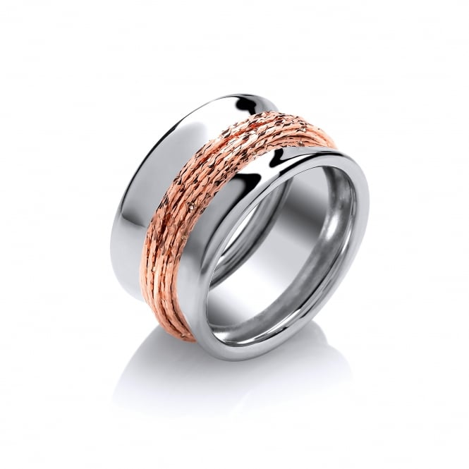 David Deyong Sterling Silver & Rose Gold Plated Chunky Wired Ring