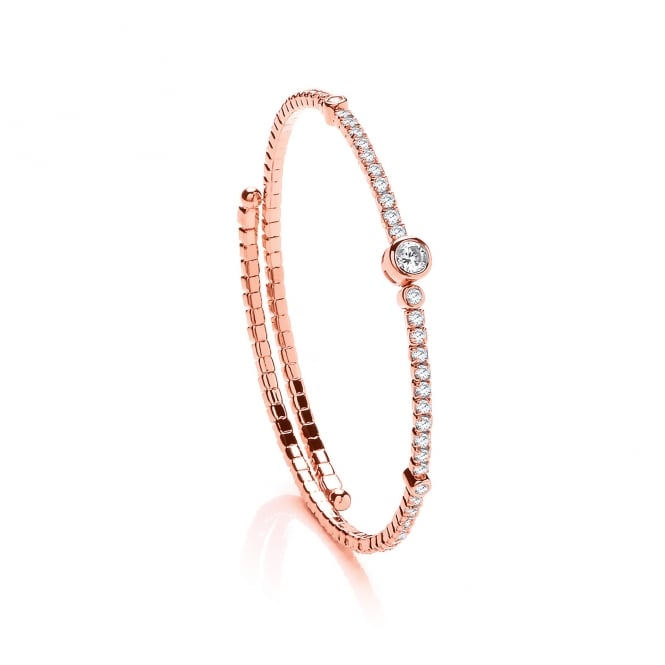 David Deyong Sterling Silver & Rose Gold Plated Cubic Zirconia Contemporary Tennis Bangle