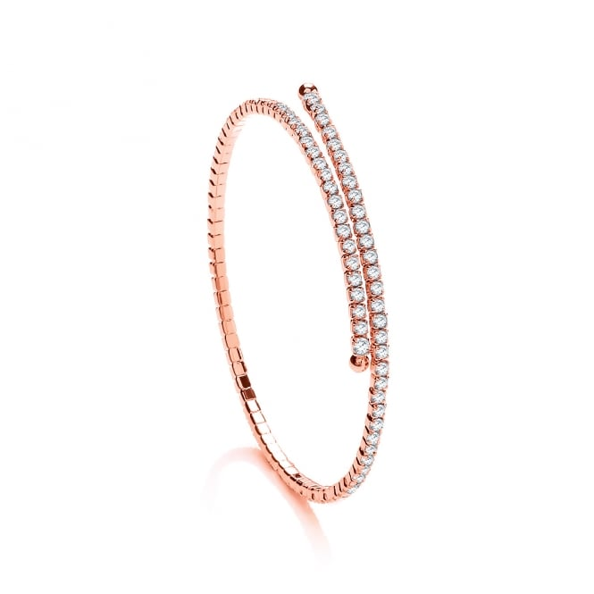 David Deyong Sterling Silver & Rose Gold Plated Cubic Zirconia Tennis Bangle