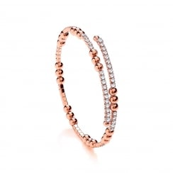 Sterling Silver & Rose Gold Plated Cubic Zirconia Triple Bead Tennis Bangle