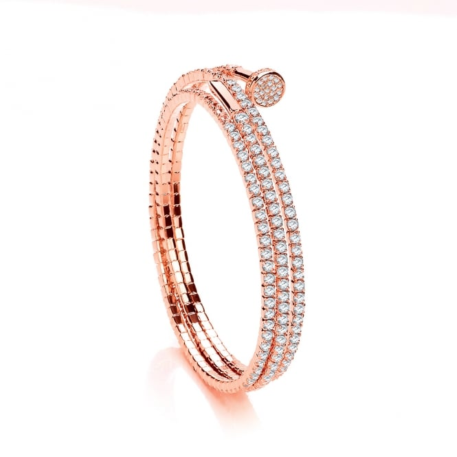 David Deyong Sterling Silver & Rose Gold Plated Cubic Zirconia Triple Wrap Tennis Bangle