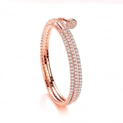 Sterling Silver & Rose Gold Plated Cubic Zirconia Triple Wrap Tennis Bangle
