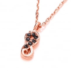 Sterling Silver & Rose Gold Plated Dainty Infinity Pendant & Chain