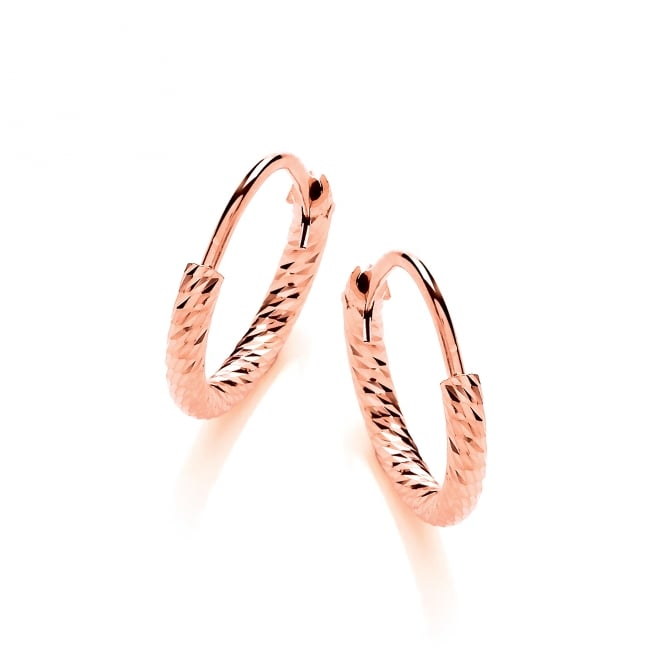 David Deyong Sterling Silver & Rose Gold Plated Diamond Cut 15mm Hoop Earrings