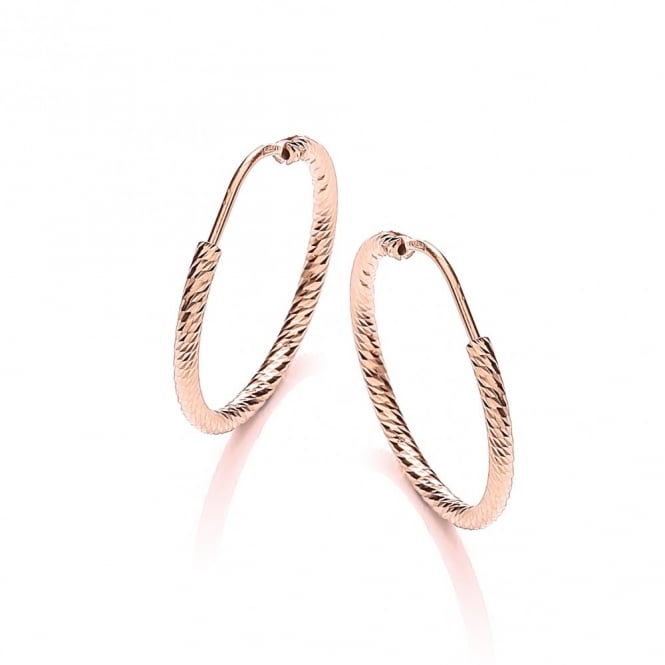 David Deyong Sterling Silver & Rose Gold Plated Diamond Cut 25mm Hoop Earrings
