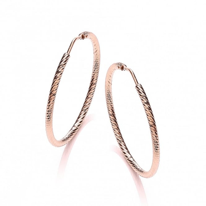 David Deyong Sterling Silver & Rose Gold Plated Diamond Cut 35mm Hoop Earrings