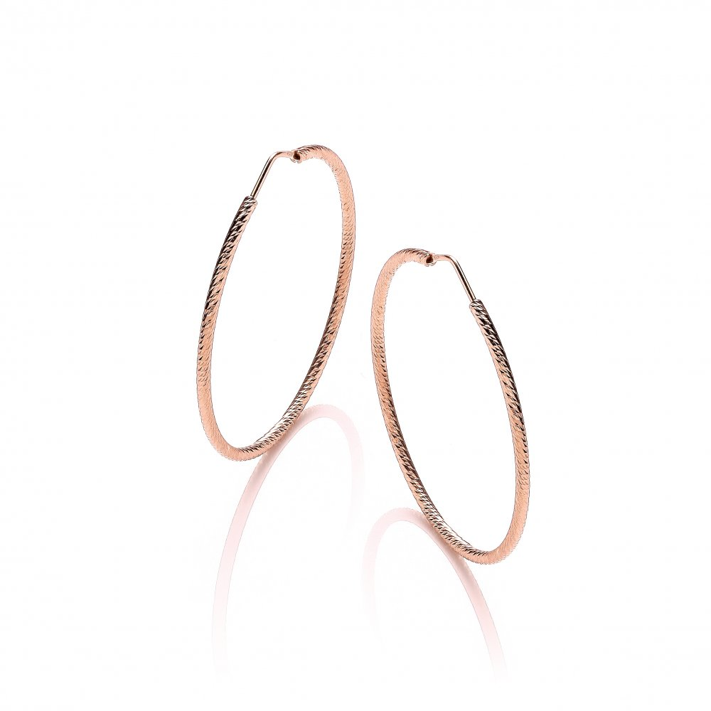 0c935f05051b3 Sterling Silver & Rose Gold Plated Diamond Cut 45mm Hoop Earrings