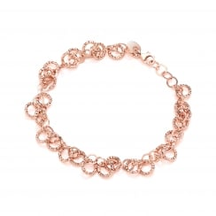 Sterling Silver & Rose Gold Plated Diamond Cut Circles Bracelet