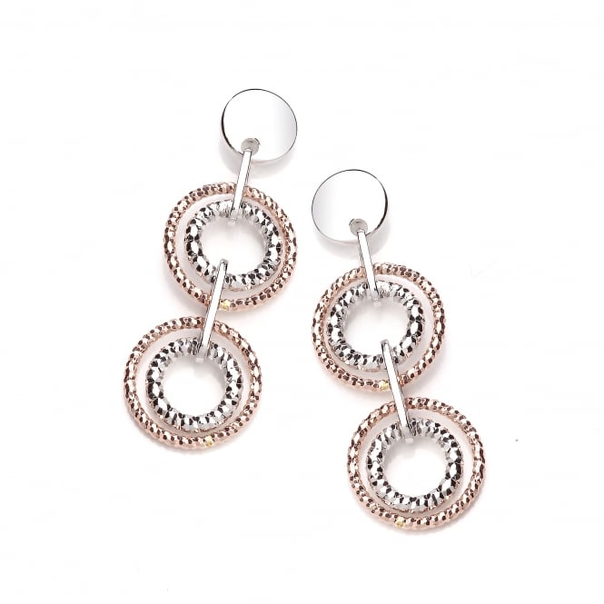 David Deyong Sterling Silver & Rose Gold Plated Diamond Cut Double Drop Earrings