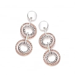 Sterling Silver & Rose Gold Plated Diamond Cut Double Drop Earrings