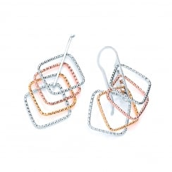 Sterling Silver & Rose Gold Plated Diamond Cut Geometric Drop Earrings