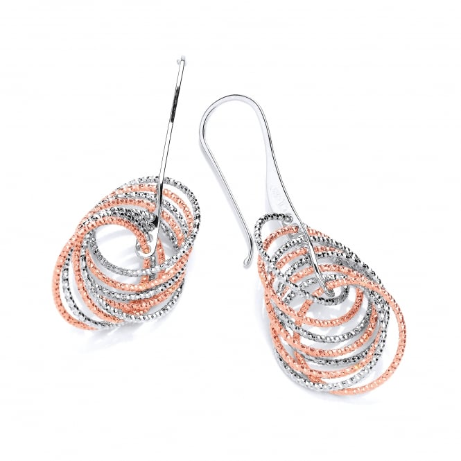 David Deyong Sterling Silver & Rose Gold Plated Diamond Cut Multi Circle Drop Earrings