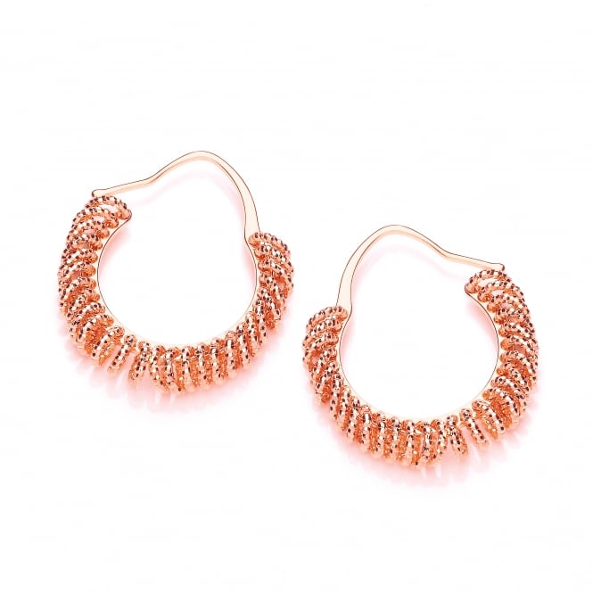 David Deyong Sterling Silver & Rose Gold Plated Diamond Cut Multi Circle Small Hoop Earrings