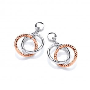 b4c534276 Sterling Silver Rose Gold Plated Diamond Cut & Polished Circles Drop  Earrings New In. David Deyong ...