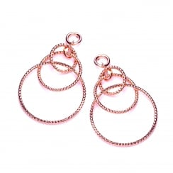 Sterling Silver & Rose Gold Plated Diamond Cut Triple Hoop Drop Earrings