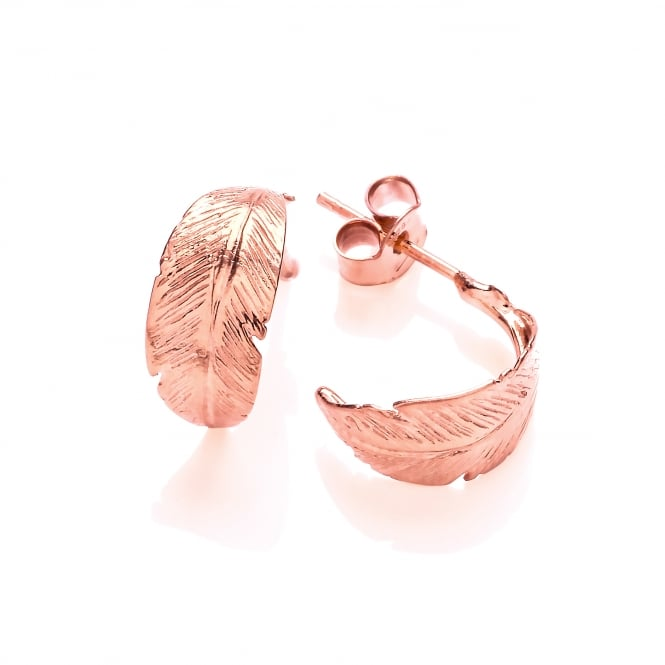David Deyong Sterling Silver & Rose Gold Plated Feather Half Hoop Earrings