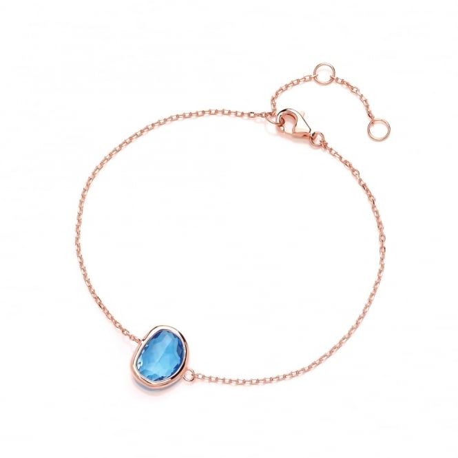 David Deyong Sterling Silver & Rose Gold Plated Fine Chain with Blue Faceted Crystal Bracelet