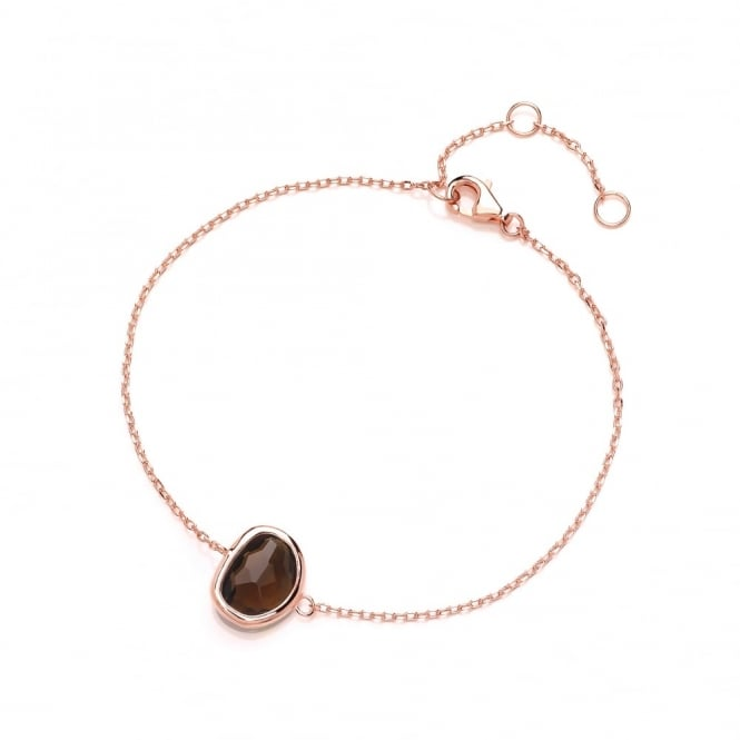 David Deyong Sterling Silver & Rose Gold Plated Fine Chain with Brown Faceted Crystal Bracelet