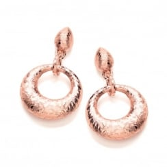 Sterling Silver & Rose Gold Plated Hammered Round Drop Earrings