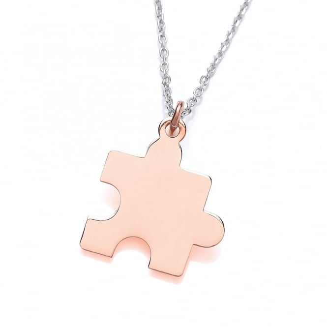 David Deyong Sterling Silver & Rose Gold Plated Jigsaw Puzzle Piece Necklace