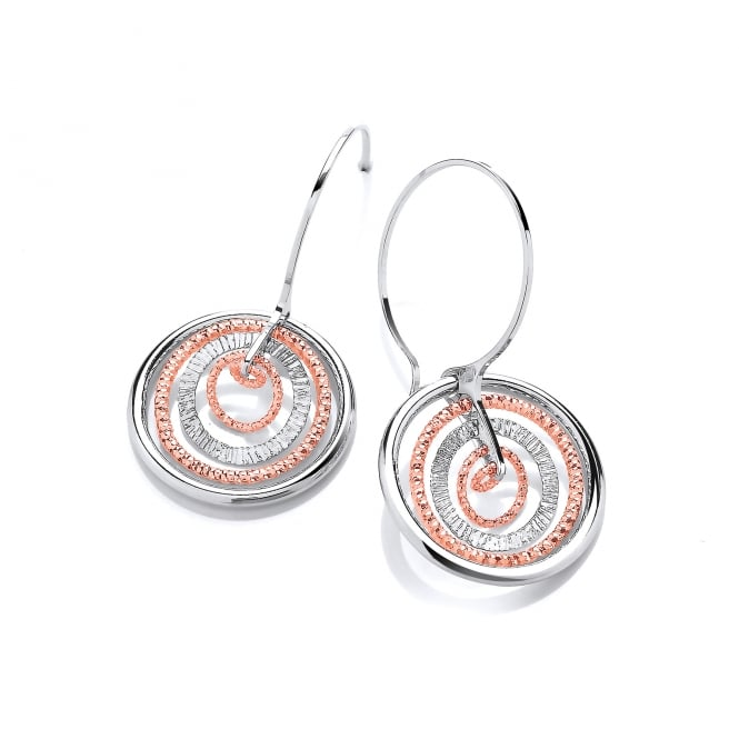 David Deyong Sterling Silver & Rose Gold Plated Large Multi-Circle Drop Earrings