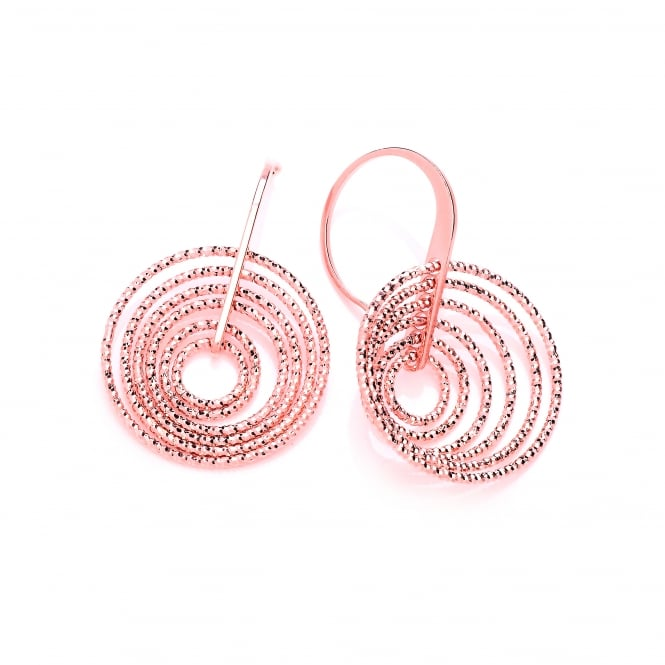 David Deyong Sterling Silver & Rose Gold Plated Multi Hoop On Hooks Earrings