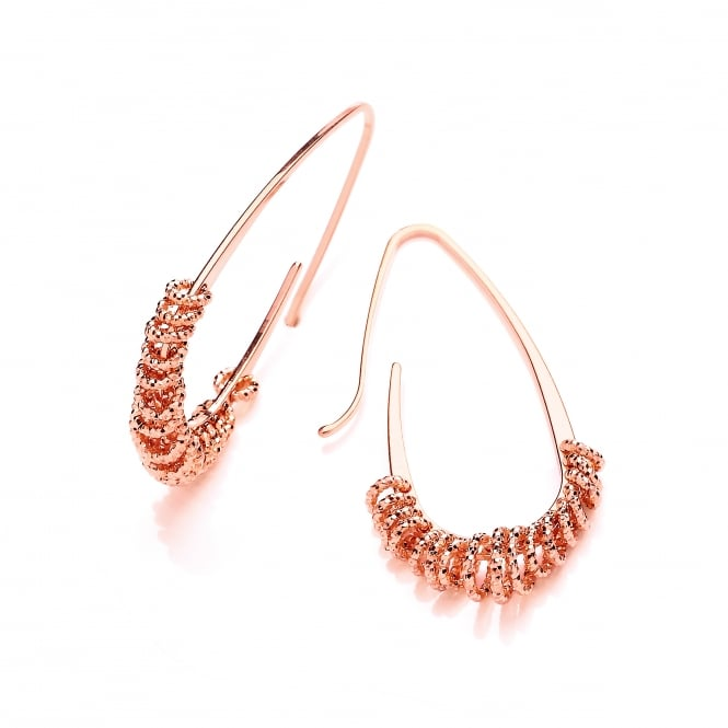 David Deyong Sterling Silver & Rose Gold Plated Oblong Diamond Cut Hoop Earrings