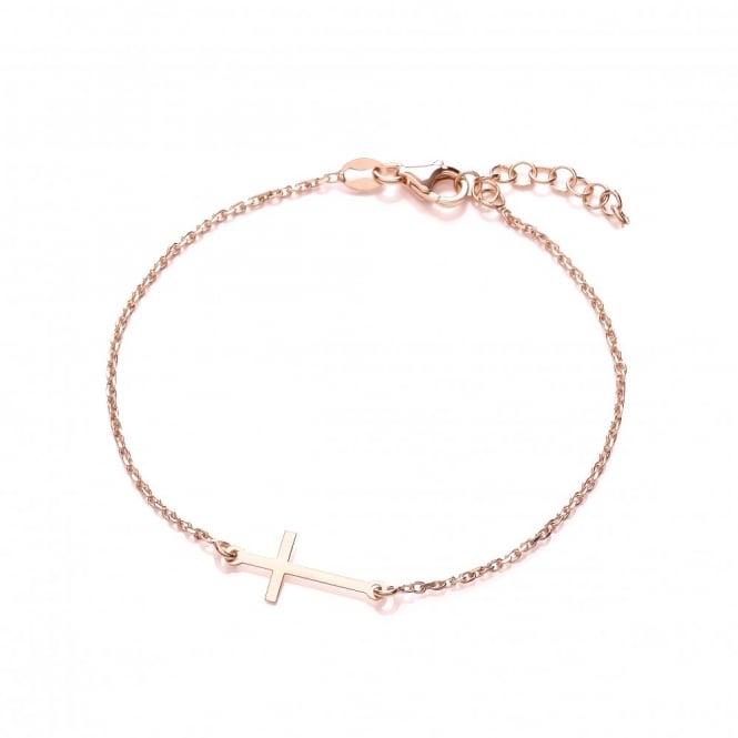 David Deyong Sterling Silver & Rose Gold Plated Sideways Cross Bracelet