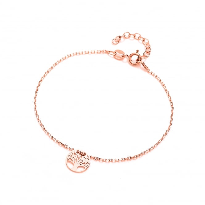 David Deyong Sterling Silver & Rose Gold Plated Tree of Life Fine Bracelet