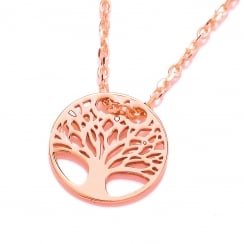 Sterling Silver & Rose Gold Plated Tree of Life Fine Necklace