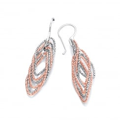 Sterling Silver & Rose Gold Plated Twisted Diamond Cut Drop Earrings