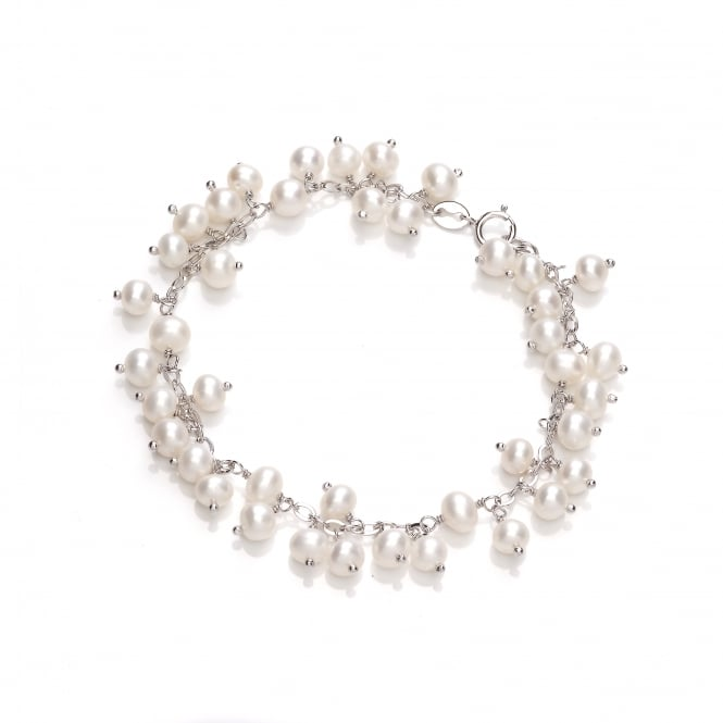 David Deyong Sterling Silver Small Dangling Pearl Bracelet