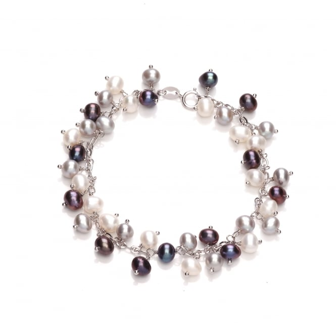 David Deyong Sterling Silver Small Peacock & Grey Dangling Pearl Bracelet