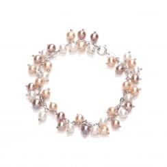 Sterling Silver Small Pink Dangling Pearl Bracelet