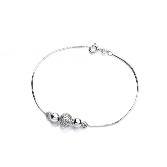 David Deyong Sterling Silver Snake Chain Filigree Ball Bracelet
