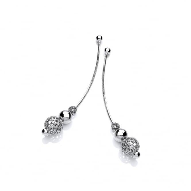 David Deyong Sterling Silver Snake Chain Filigree Ball Earrings