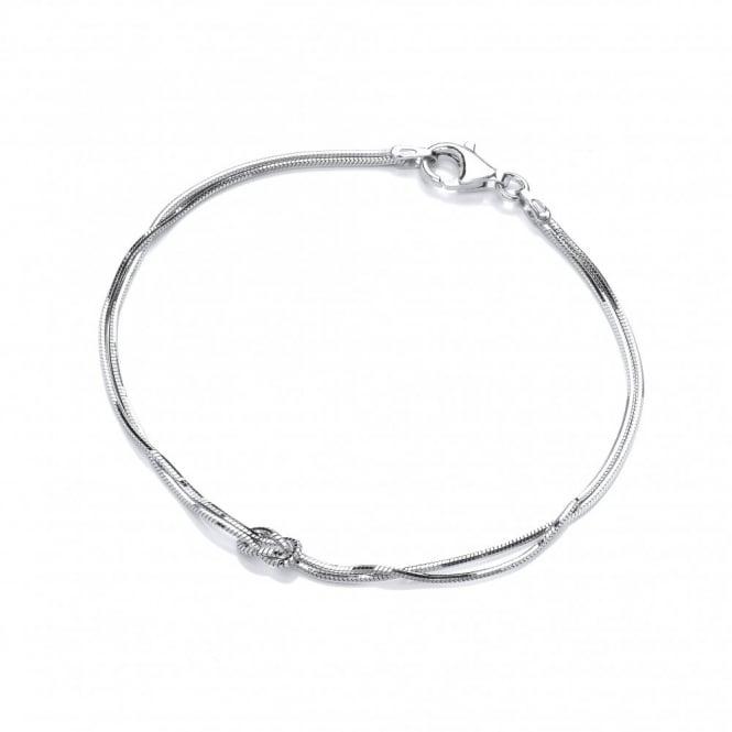 David Deyong Sterling Silver Snake Chain & Knot Bracelet