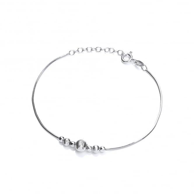 David Deyong Sterling Silver Snake Chain Moon Cut Bead Bracelet