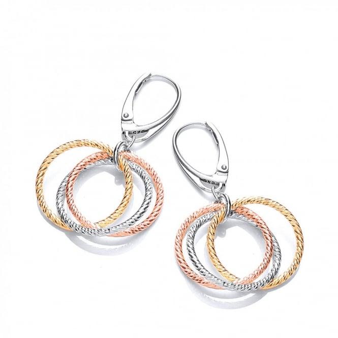 David Deyong Sterling Silver Tri-Colour Diamond Cut Hoops Drop Earrings