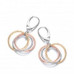 Sterling Silver Tri-Colour Diamond Cut Hoops Drop Earrings